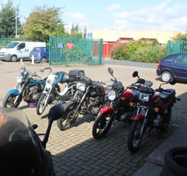 Bikes for servicing at Clarendon Motorcycles